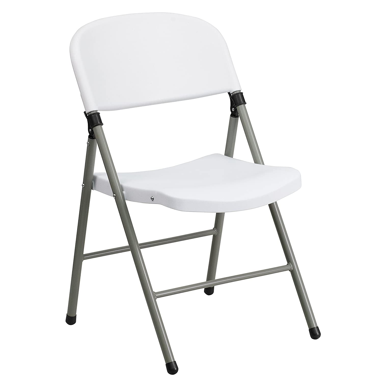 Flash Furniture 6 Pk. HERCULES Series 330 lb. Capacity White Plastic Folding Chair with Gray Frame