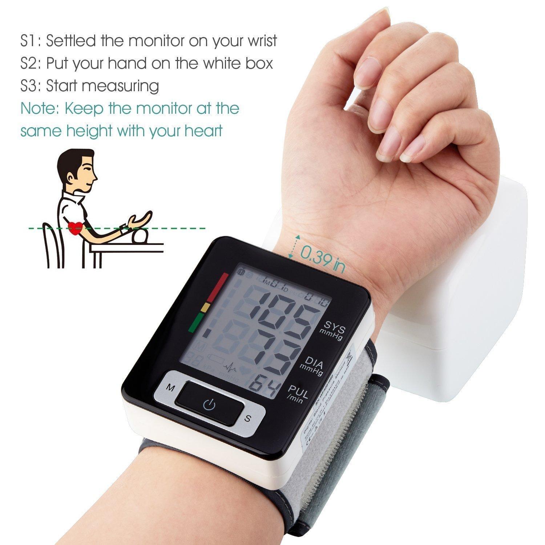 Blutdruckmessgerät Handgelenk Genau erkennt Blutdruck Herzfrequenz & Unregelmäßigen Herzschlag, große Pantalla de cristal líquido (negro): Amazon.es: Hogar