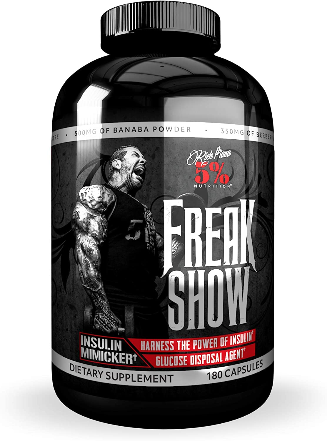 Rich Piana 5% Nutrition Freak Show | Carb Partitioner, Keto-Friendly Insulin Supplement for Building Muscle | Berberine, Gymnema Sylvestre, Banaba Powder 180 Capsules (30 Day Supply)