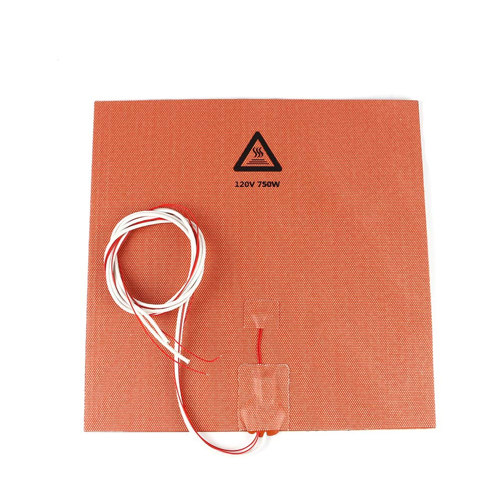 "BCZAMD 300 X 300mm (Approx. 12"" X 12"") 120V 750W Silicone Rubber Heater Mat/Pad with NTC 100K Thermistor 3M Adhesive for 3D Printer Parts"
