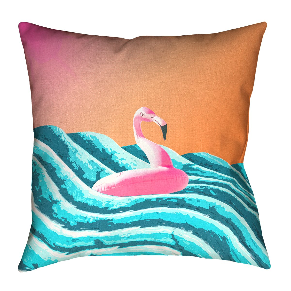 ArtVerse Katelyn Smith 20 x 20 Poly Twill Double Sided Print with Concealed Zipper /& Insert Sun /& Surf Flamingo Float Pillow