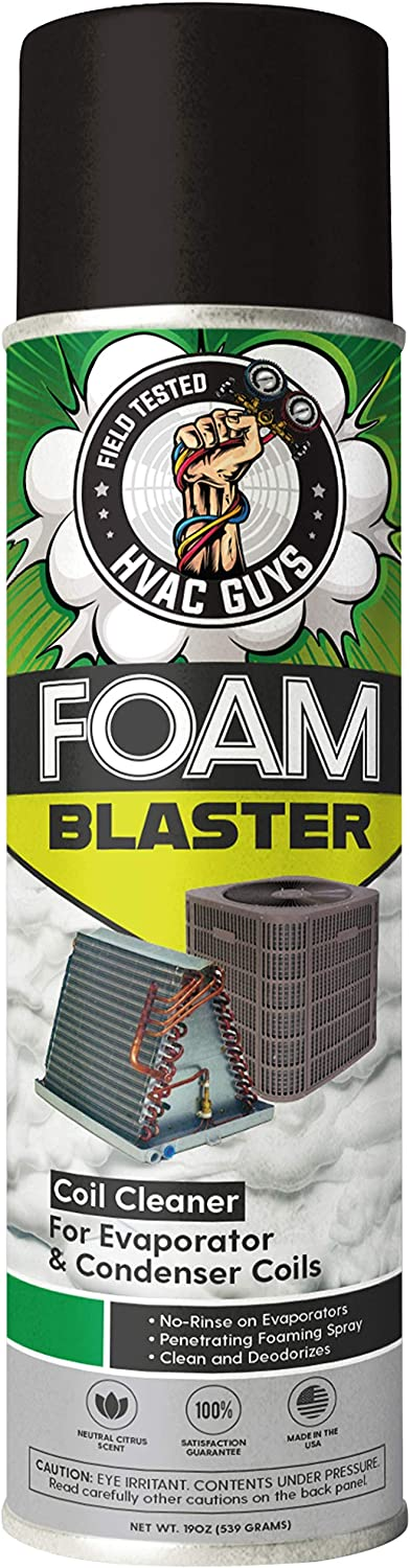 HVAC Guys - Foam Blaster (19 Oz.) - Penetrating Coil Cleaner - For AC and Refrigeration Units - Clean and Deodorize Evaporator (No-Rinse) & Condenser Coils - Neutral Citrus Scent