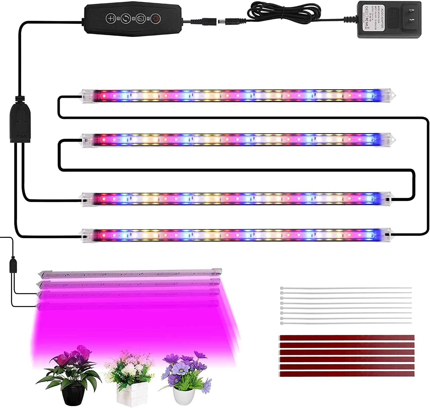 SIKEFIWO 4 LED Grow Lights Strips, 108LEDs Full Spectrum Grow Light with Auto Cycle Timer 3/6/12 H, Plant Grow Lights for Indoor Plants,6 Dimmable Levels LED Grow Lights for Garden Seeding Hydroponics