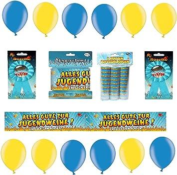 Feste Feiern Deko Set Jugendweihe 16 Teile Absperrband Luftballons Party Button Luftschlangen Alles Gute Zur Jugendfeier Endlich Erwachsen Party Deko Amazon De Spielzeug