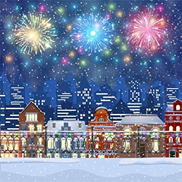 New Years at Midnight Backdrop 8x6.5ft Merry Christmas Polyester Photography Background Vintage European-Style Clock Abstract Fireworks Bokehs Holiday Carnival Party Decor Photo Prop Wallpaper