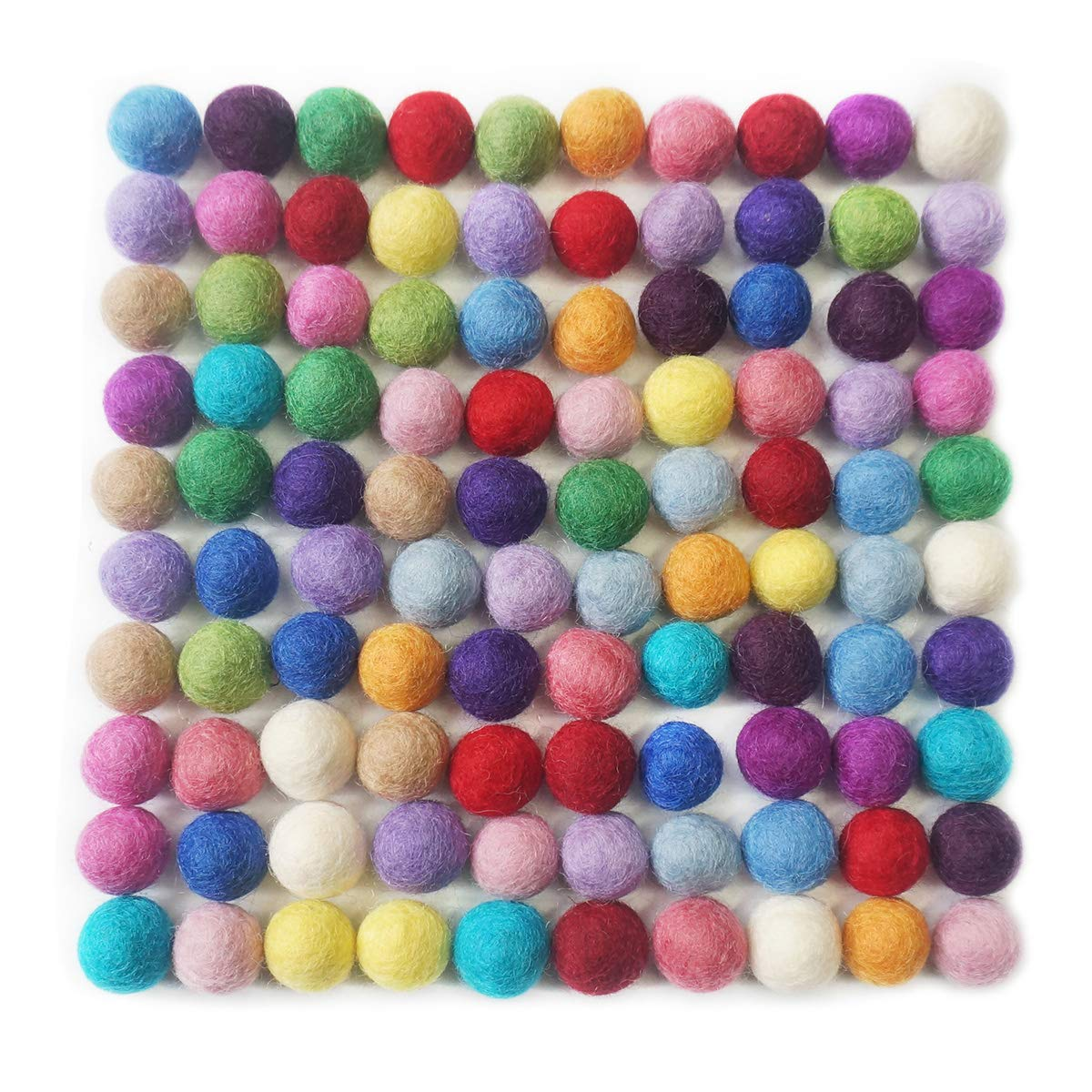 YXJD 100pcs Filzkugel 100/% Wolle Ball 20mm Filzperlen Mehrfarbig zum Basteln Zimmer Party Hochzeit Deko