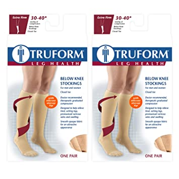 245906683ef Image Unavailable. Image not available for. Color  Truform Compression 30-40  mmHg Knee High Dot Top Stockings ...