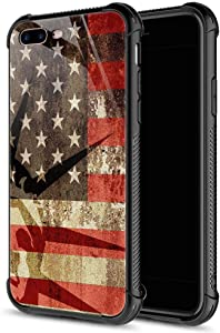 CARLOCA iPhone 8 Case,Gold Retro USA Flag iPhone 7 Cases iPhone SE 2020 Cases for Girls Boys,Graphic Design Shockproof Anti-Scratch Hard Back Case for Apple iPhone 7/8/SE2