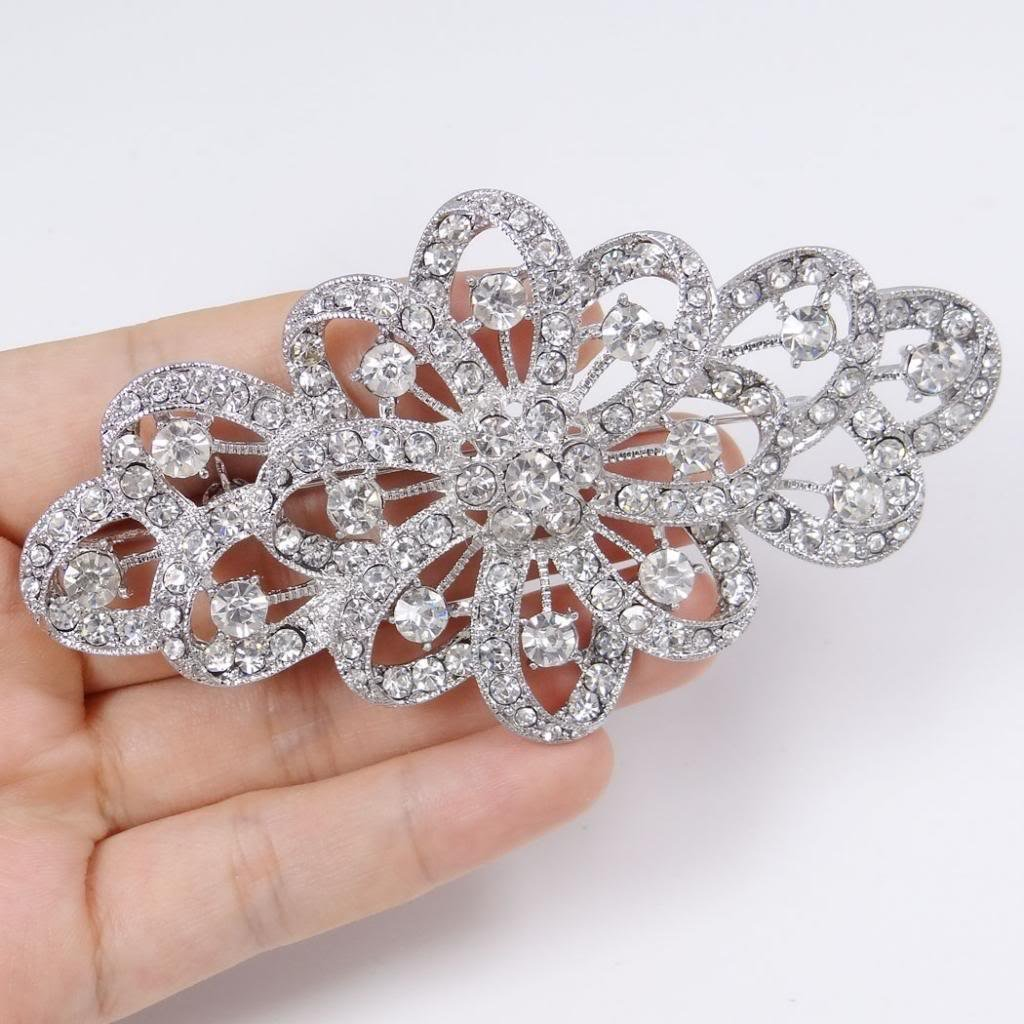 Vintage Style Jewelry, Retro Jewelry EVER FAITH 4 Inch Bridal Flower Ribbon Brooch Clear Austrian Crystal $17.99 AT vintagedancer.com
