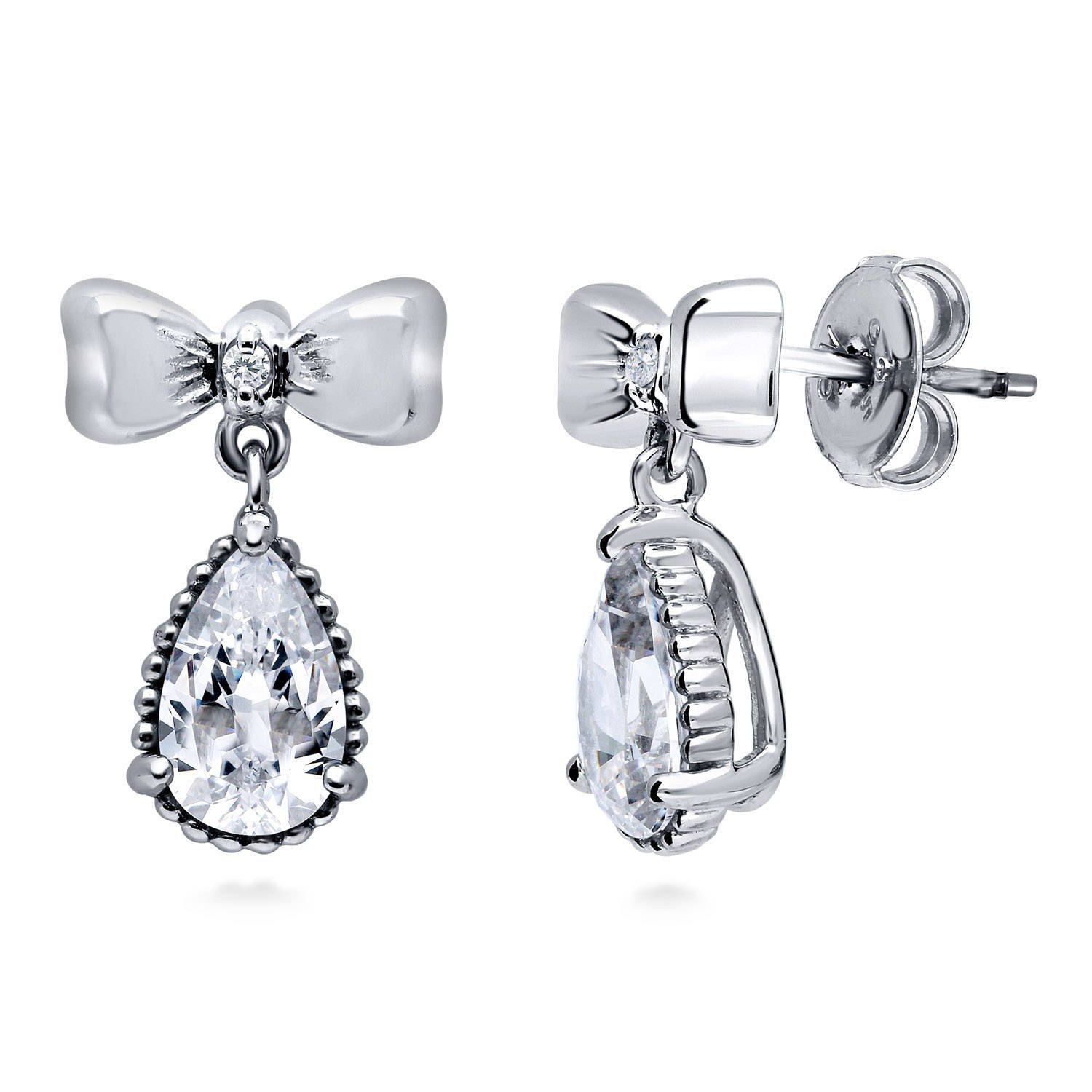 406061bcb Amazon.com: BERRICLE Rhodium Plated Sterling Silver Cubic Zirconia CZ Bow Tie  Fashion Dangle Drop Earrings: Jewelry