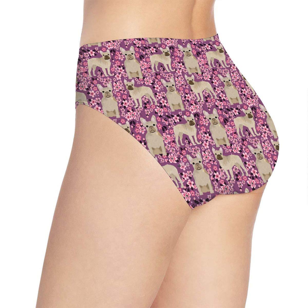 Women French Bulldog Cherry Blossom Underwear Bikini Briefs