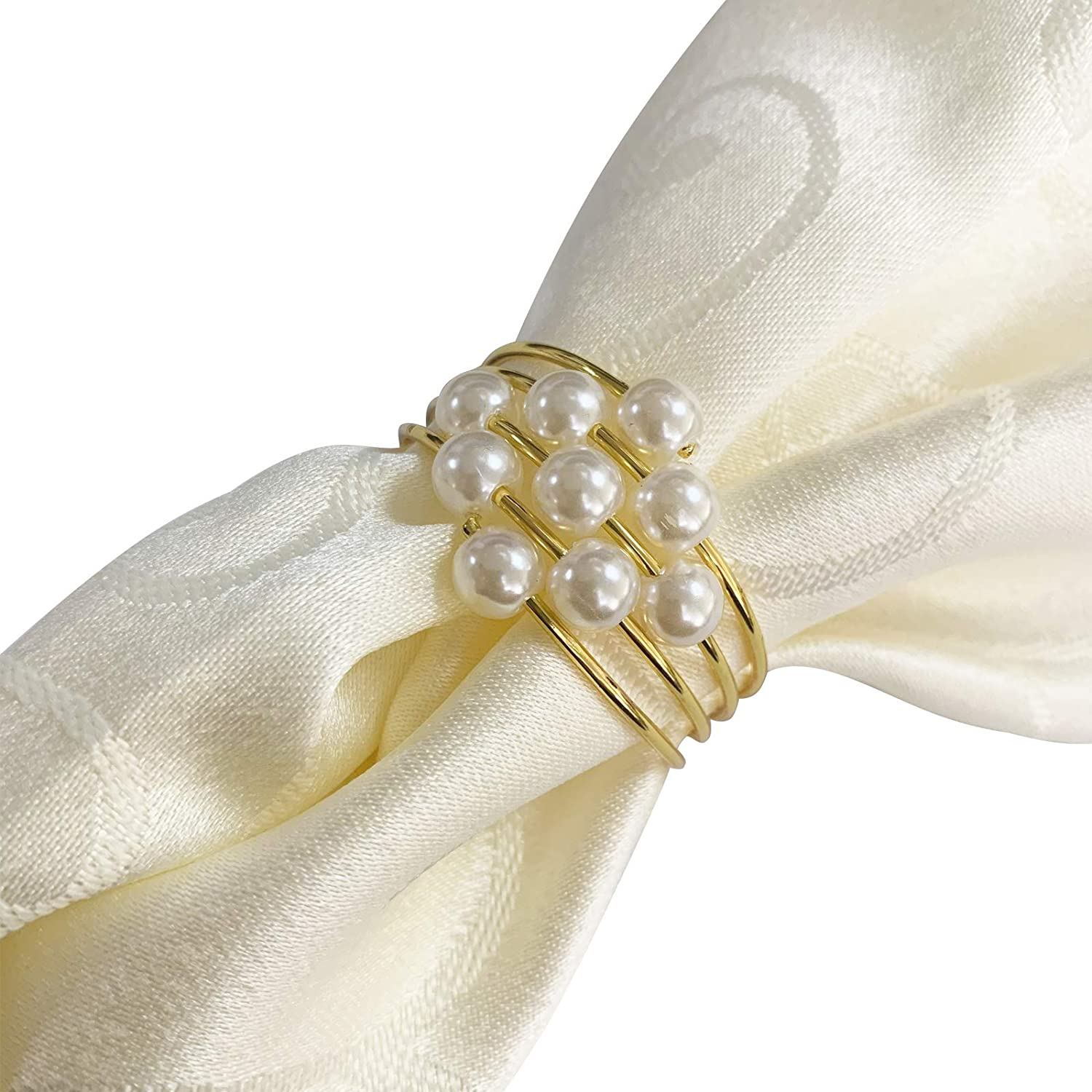 Party Dinner Table Decor Jilijia Pearls Napkin Rings Set of 12 Pearls Round Flower Napkin Buckles Rhinestone Napkin Holders for Wedding Mothers Day