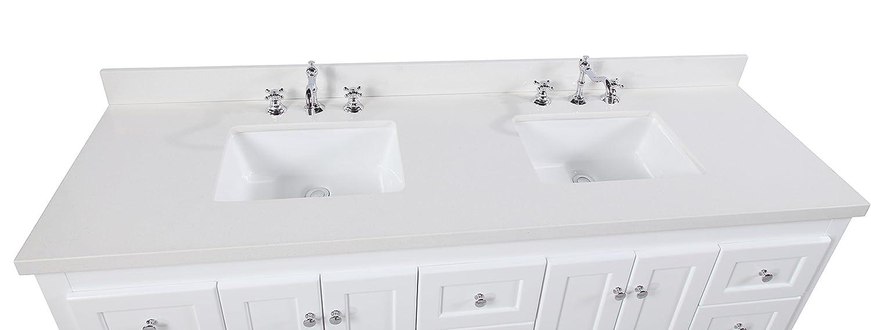 Abbey 72-inch Double Bathroom Vanity (Quartz/White): Includes a ...