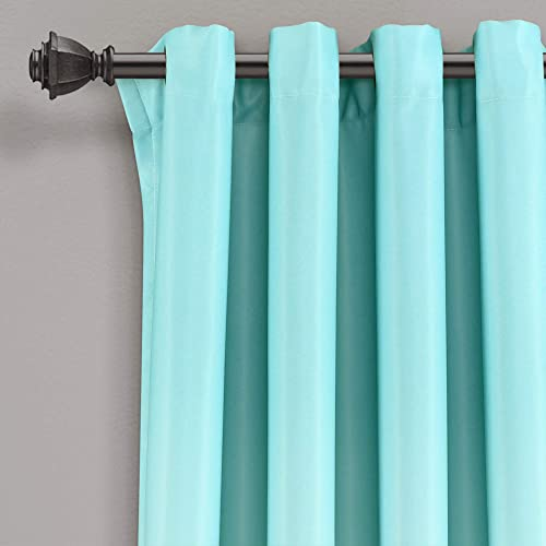 Lush Decor Aqua and Gray Umbre Fiesta Curtains Room Darkening Window Panel Set