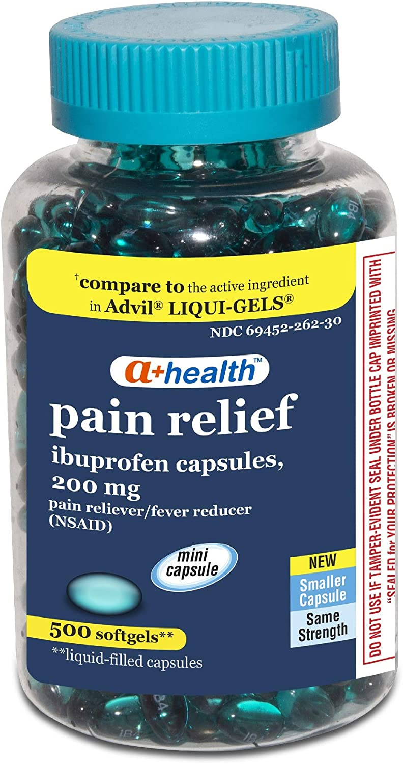 A+Health Ibuprofen 200 Mg Mini Softgels, Pain Reliever/Fever Reducer (NSAID), Made in USA, 500 Count