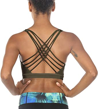 icyzone Womens Workout Yoga Clothes Strappy Crisscross Racerback Sports Bras