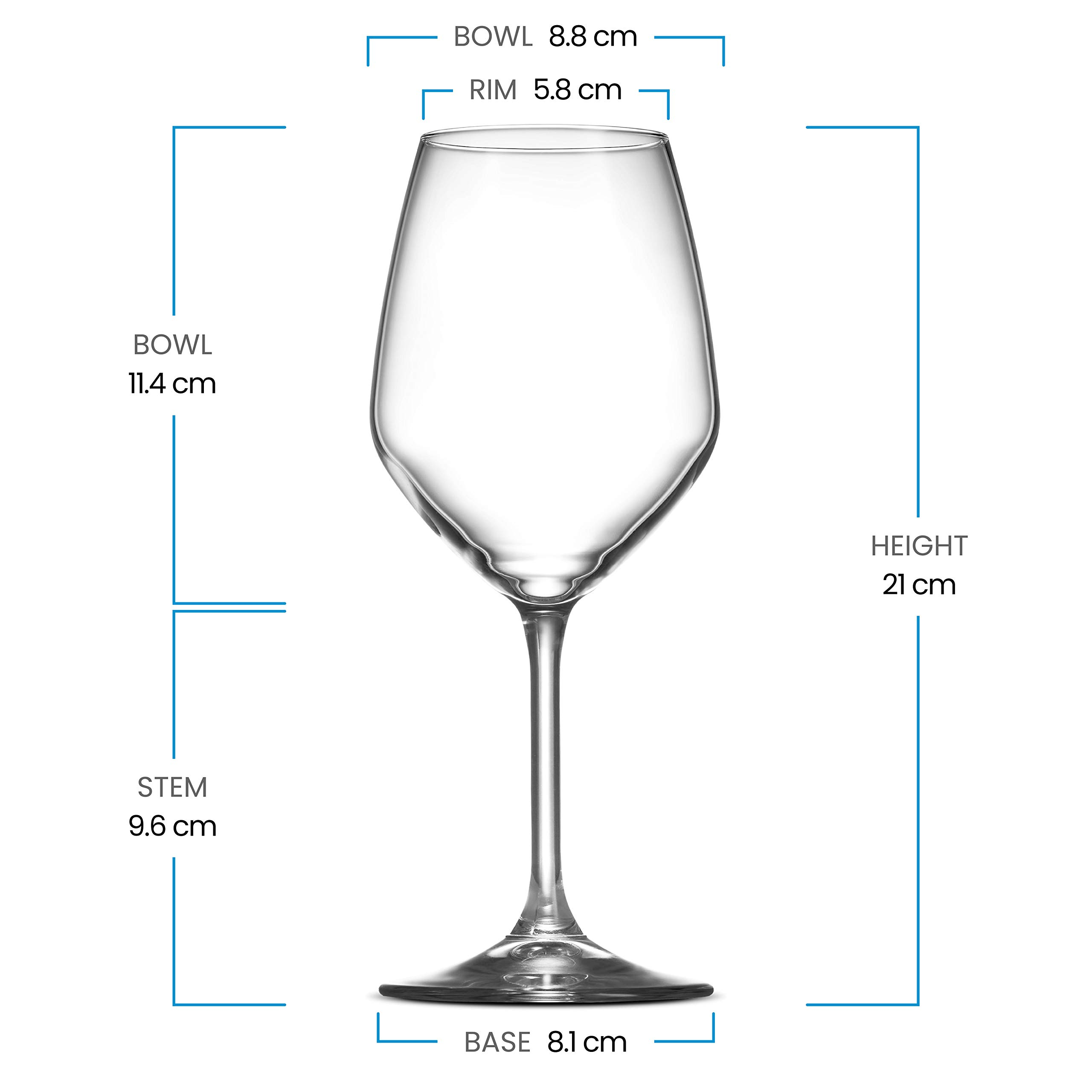 Paksh Novelty Italian White Wine Glasses - 15 Ounce - Lead Free - Shatter Resistant - Wine Glass, Clear (Set of 8) by Paksh Novelty (Image #7)