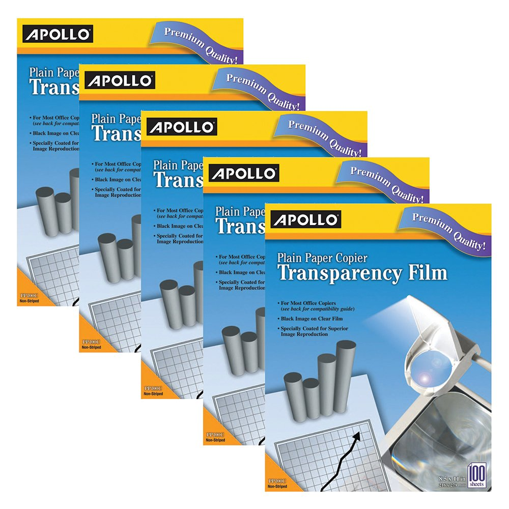 Apollo Transparency Film for Plain Paper Copier without Stripe 100 Sheets//Pack VPP100CE ACCO Brands Black on Clear Sheet