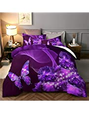Purple Duvet Cover Set Rose Quilt Cover Set Microfiber Bedding Duvet Cover Set with Zipper Closure (1 Duvet Cover + 2 Pillow Shams)