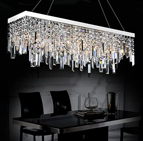 Moooni Contemporary Rectangle Crystal Chandelier Modern Hanging Dining Room  Pendant Lighting Linear Design L28u0026quot; ...