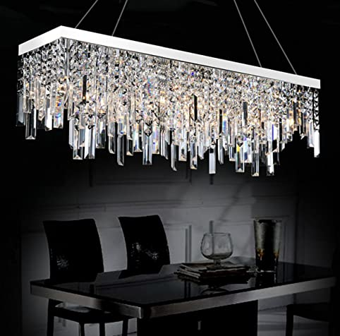 moooni rectangle crystal chandelier modern hanging dining room pendant lighting linear design