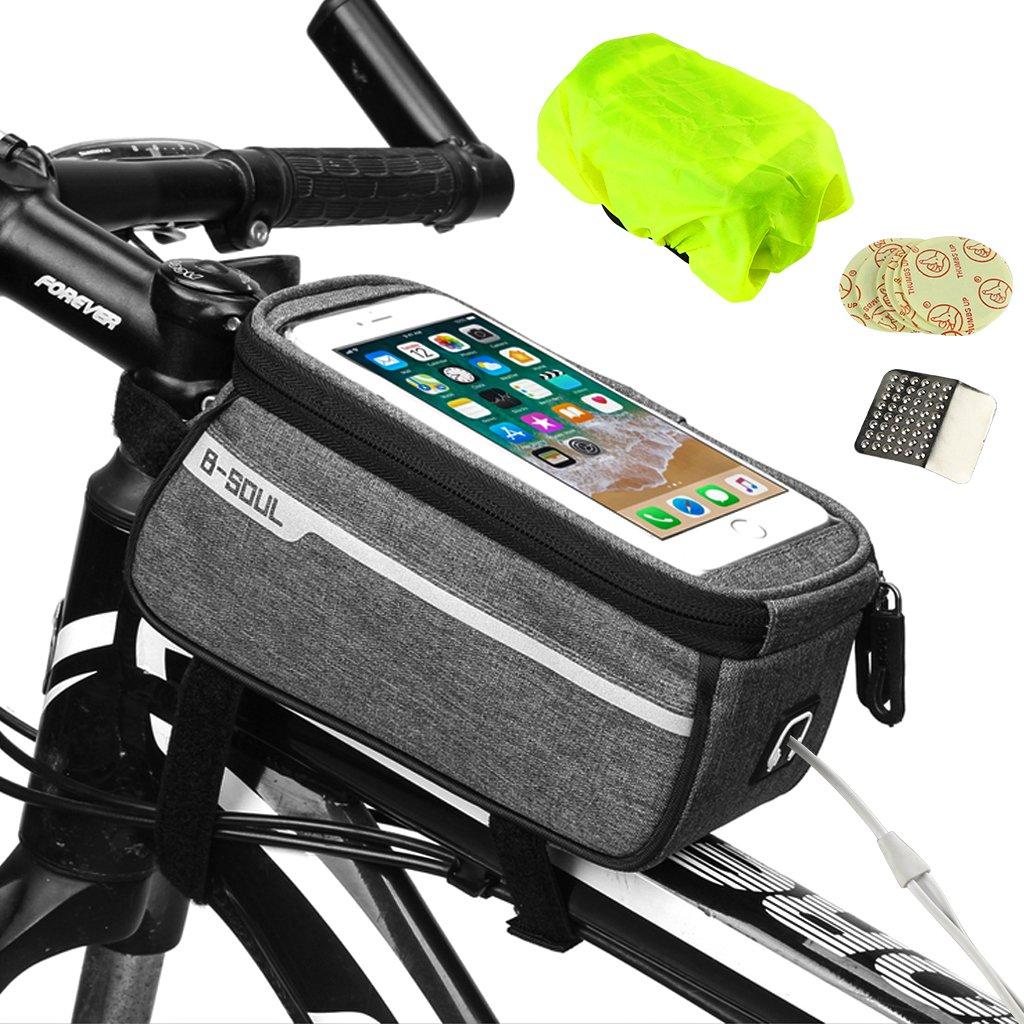 Borsa porta cellulare per bicicletta, Borsa per telaio bici Weeygo Borsa frontale per bici impermeabile Custodia porta cellulare per bicicletta Trasparente Custodia touch screen per smartphone fino a 6 , grigio YDK_Store