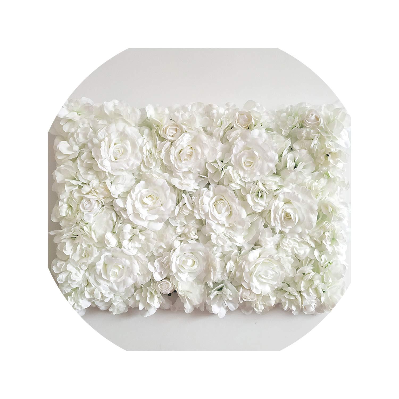 Dream-catching 10ピース ウェディング 装飾 人工シルク ローズ ホワイト アジサイ 牡丹 花 舞台 ホテル パーティー 装飾 フラワー 背景 壁 SB-122 B07PRTPWXR White Flower Wall