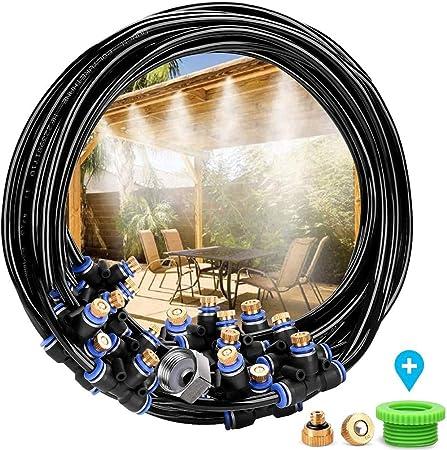Fovely Kit de nebulizador para terraza de jardín al Aire Libre, 8 Metros Metro de nebulizador para terraza de jardín al Aire Libre Sistema de enfriamiento para jardín de Invernadero: Amazon.es: Hogar