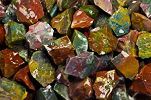 Fantasia Materials: 1 lb Blood Fancy Jasper AAA Grade Rough Stones from India