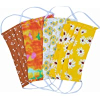 NBSR 4 Pack Washable Reusable Floral Cotton Half Cover Unisex Mouth Covers Protection Half Face Windproof Face Caps Face Shield/Loop Scarf/Bandana/Balaclava (520-A)