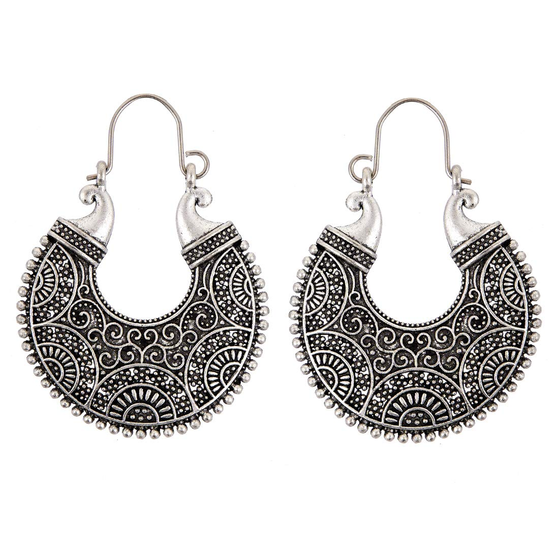 Oxidized Silver Hoop and Dangle Earring