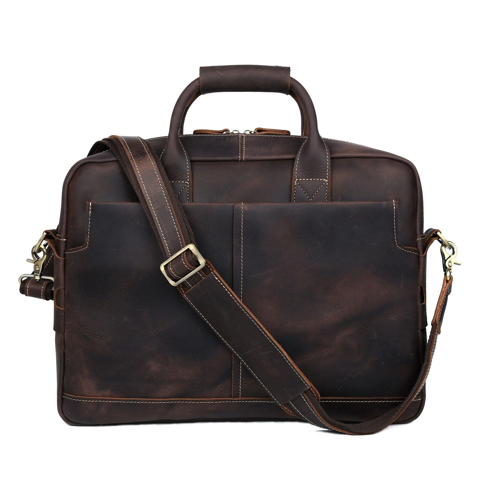 BAIGIO Men Retro Leather Briefcase Laptop Computer Office Business Shoulder Tote Messenger Bag (Dark Brown) by BAIGIO (Image #2)