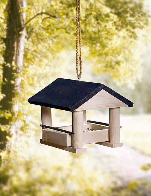 Amelex 67 - Comedero para pájaros, bonita casita de pino, fácil de rellenar: Amazon.es: Jardín