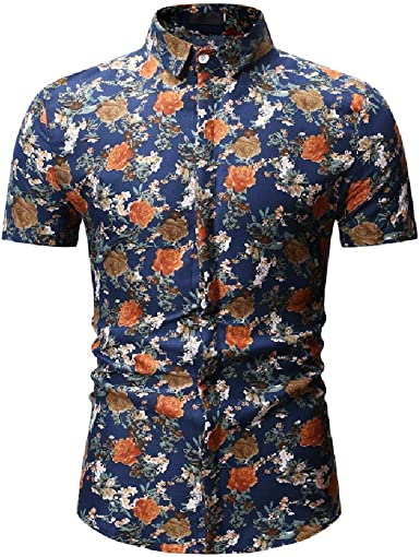 Camisa de manga corta para hombre de manga corta con diseño de flores: Amazon.es: Ropa y accesorios