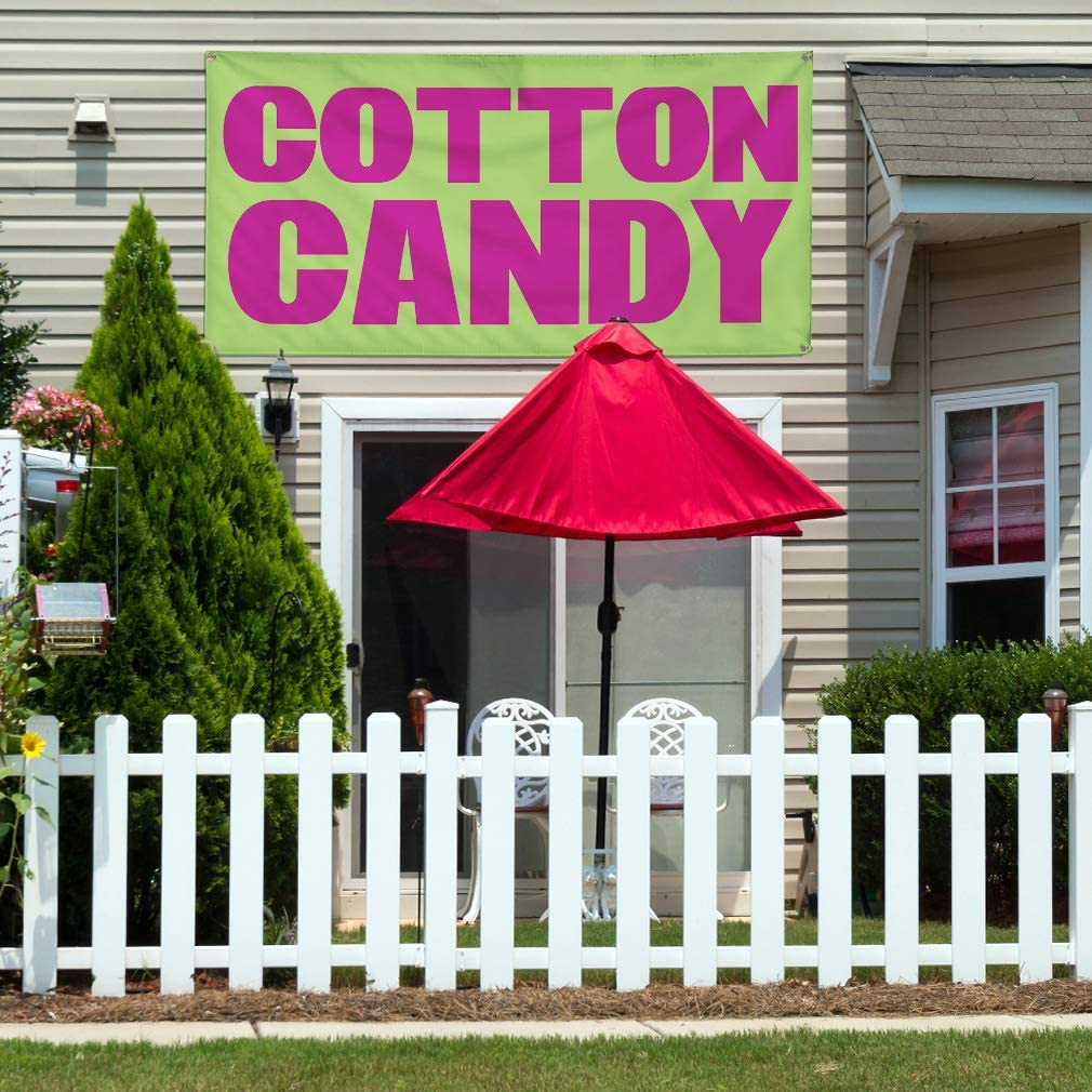 Set of 3 Multiple Sizes Available Vinyl Banner Sign Cotton Candy #1 Style A Retail Outdoor Marketing Advertising Green 24inx60in 4 Grommets