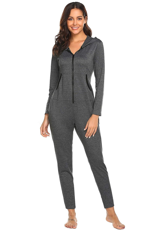 24b8663cda Ekouaer Onesies Thermal Underwears Christmas Union Jumpsuit One Piece Pajama  Hooded Sweatshirt Sleepwear for Women at Amazon Women s Clothing store