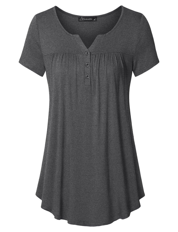 Vinmatto Women's Short Sleeve Henley V Neck Pleated Button Details Tunic Shirt Top(L,Deep Gray)