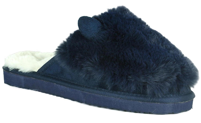 Refresh Footwear Womens Warm Faux Fur Plush Lined Cat Animal Scuff Slipper