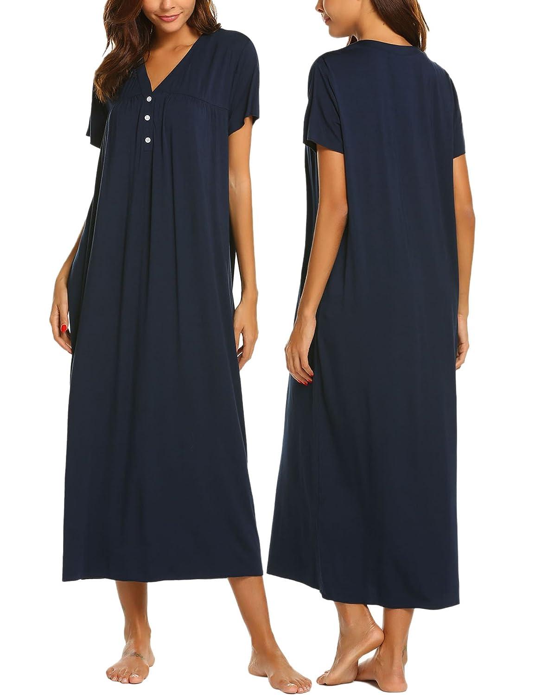 Ekouaer Womens Sleepwear Button Front Maxi Nightgown Long Nightwear Sleep Dress S-XXL *EKK009488