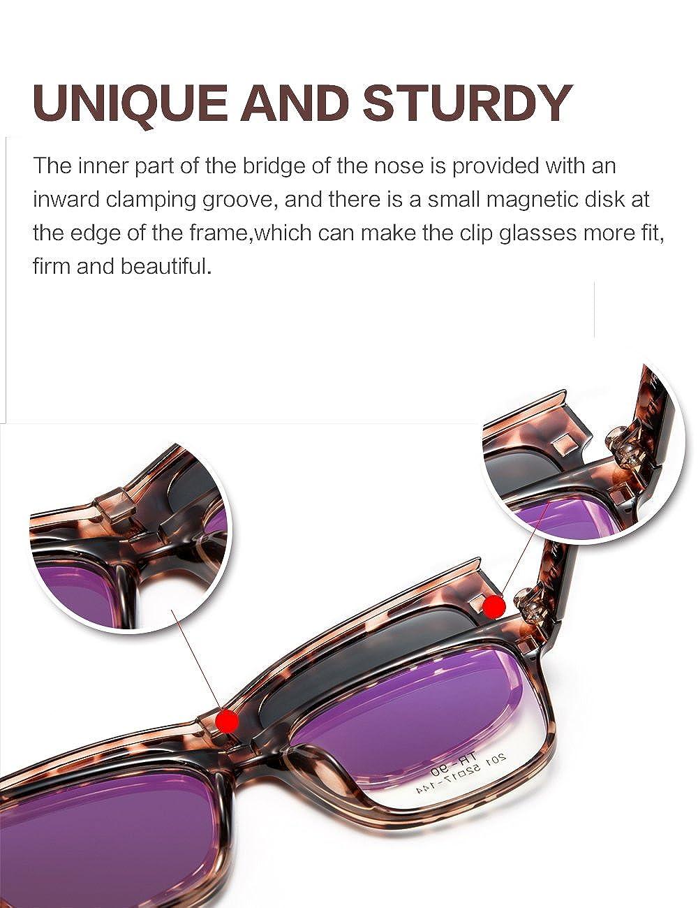 5d39e17199 Amazon.com  WELUK Optical glasses Frame with Magnetic Polarized Reflective Sunglasses  Clips (201-Tortoiseshell