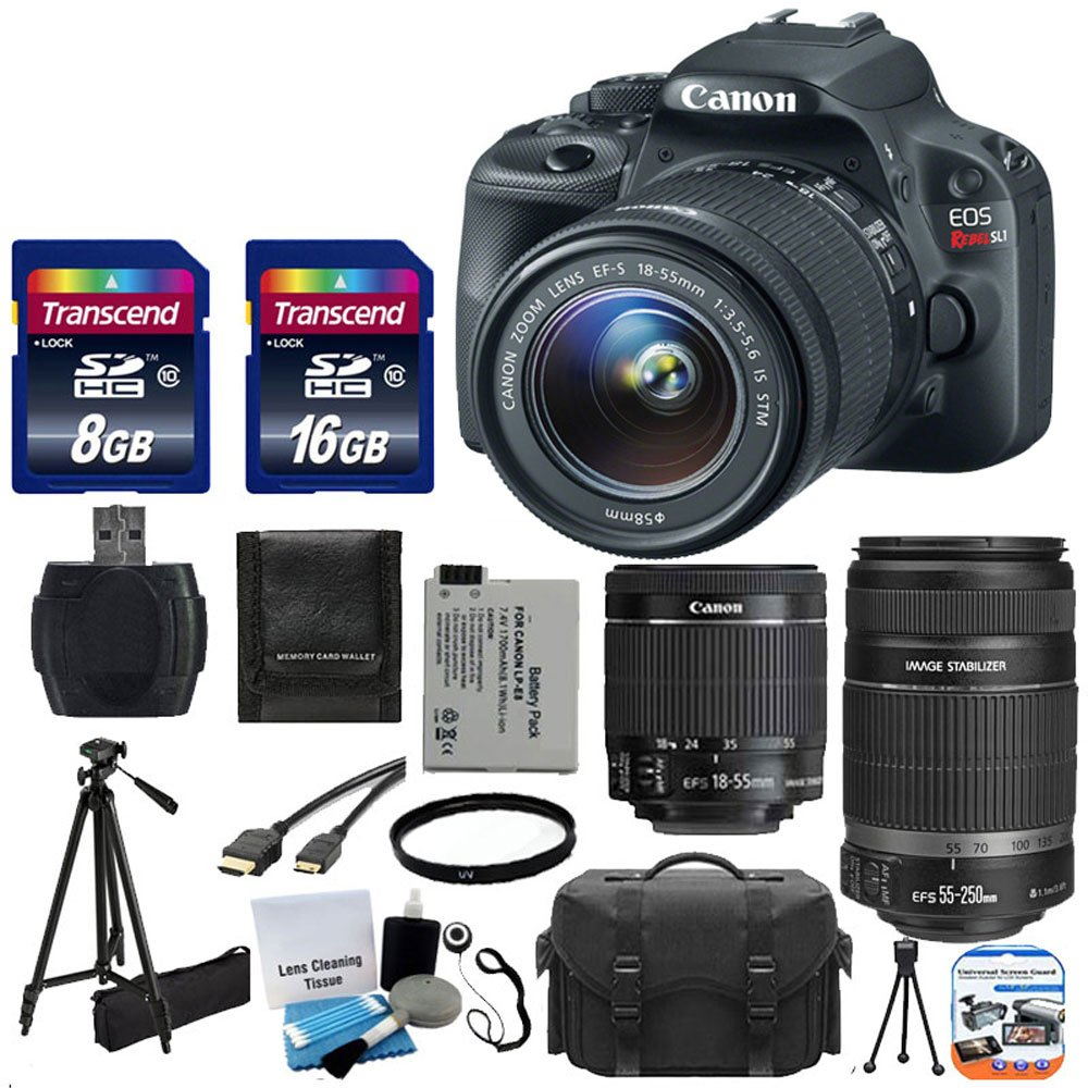 Canon EOS Rebel SL1 18.0 MP CMOS Digital SLR with EF-S 18-55mm F3.5-5.6 IS STM with Canon EF-S 55-250mm STM f/4-5.6 IS Image Stabilizer Telephoto Zoom Lens + Extra Battery + Tripod 17pc Bundle with 24GB SD Card Complete Deluxe Accessory Kit