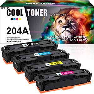 Cool Toner Compatible Toner Cartridge Replacement for HP 204A CF510A CF511A CF512A CF513A for HP Color LaserJet Pro MFP M180nw M180n M181fw M181 M154nw M154a Printer Toner (Black Cyan Yellow Magenta)