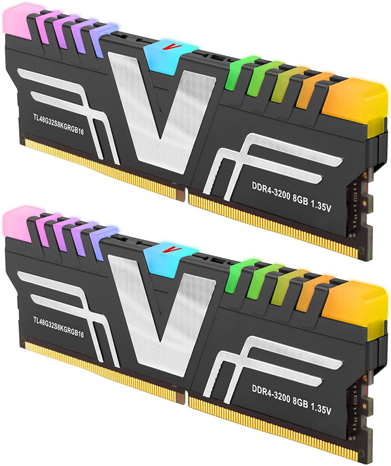 v-Color Prism RGB 16GB (2 x 8GB) DDR4 3200MHz (PC4-25600) CL16 1.35V Desktop Memory Module Ram Upgrade Gaming UDIMM -Grey (TL48G32S8KGRGB16)