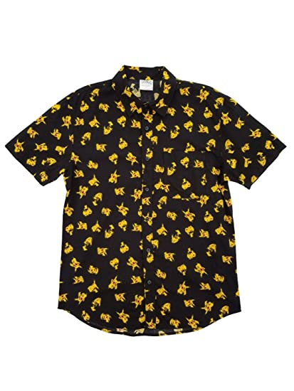 f492cefaf64 Pokémon Pikachu All-Over Print Button Up Mens Shirt - XS at Amazon Men s  Clothing store
