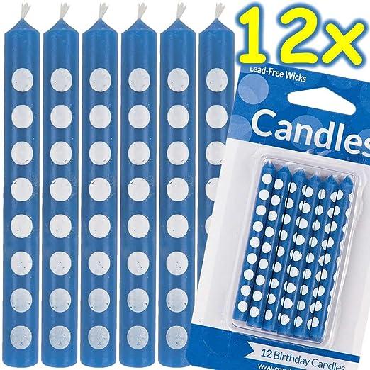 Carpeta 12 Velas Azules con Lunares Blancos * Polka Dots ...