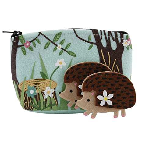 Woodland tema fieltro erizo bolso y broche Set
