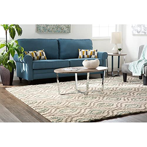 Mohawk Home Laguna Ogee Waters Green Geometric Contemporary Shag Area Rug, 5 x 8 , Green and Grey