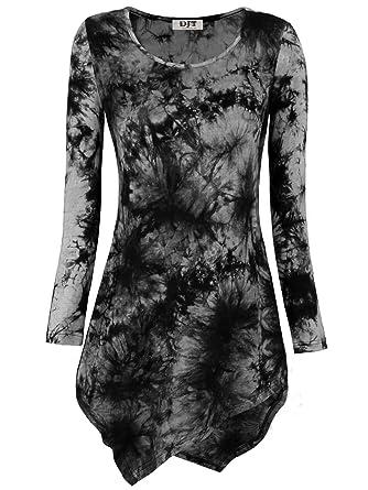 c8ced87cb3 DJT Womens Tie Dyed Hankerchief Hemline Tunic Top at Amazon Women's ...