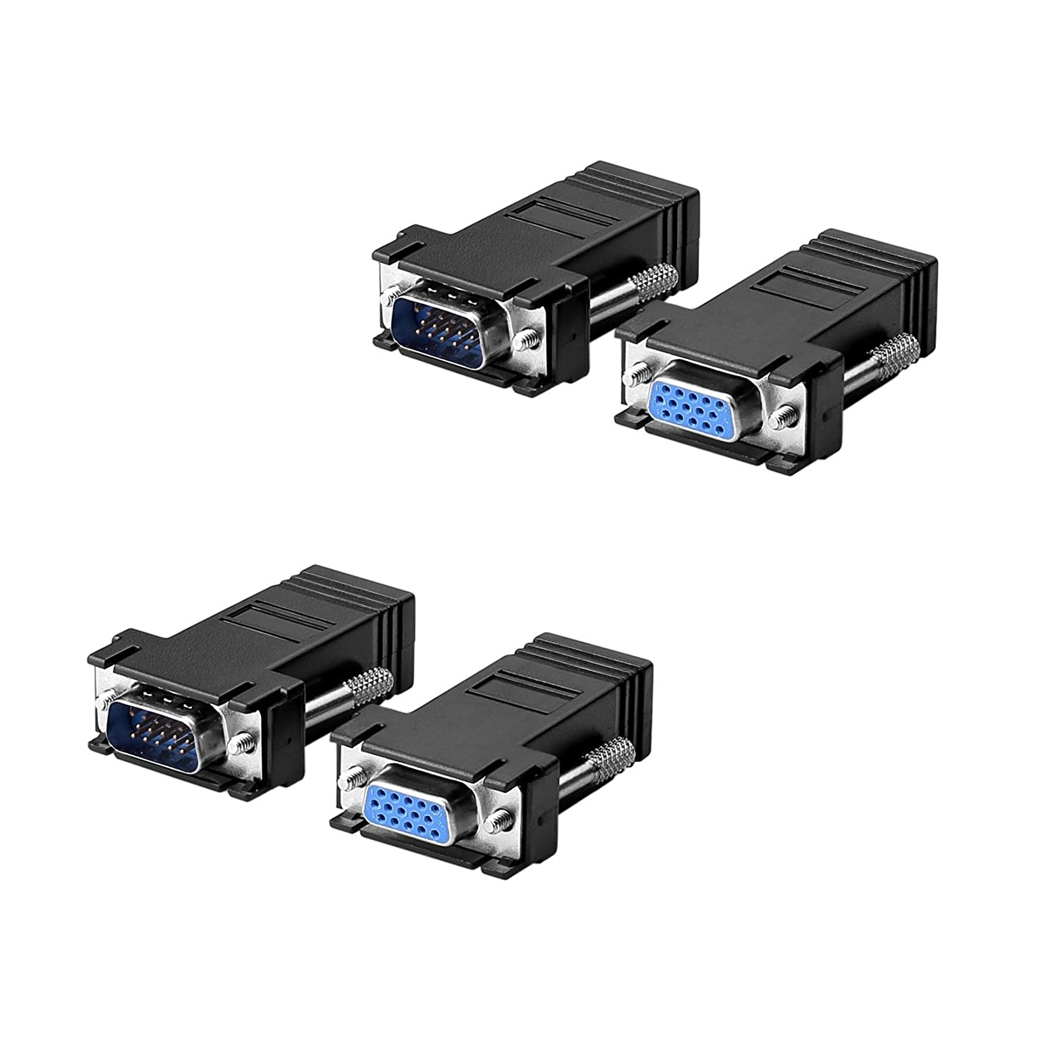 Sienoc 2 set (4pcs) Coppia ADATTATORE VGA PROLUNGA VIA CAT5/CAT6/RJ45 Cavo Adapter Kit EXTENDER oc-737