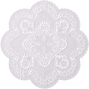12 inch White Paper Lace Table Doilies – French Style Decorative Tableware Disposable Placemats (Pack of 50)